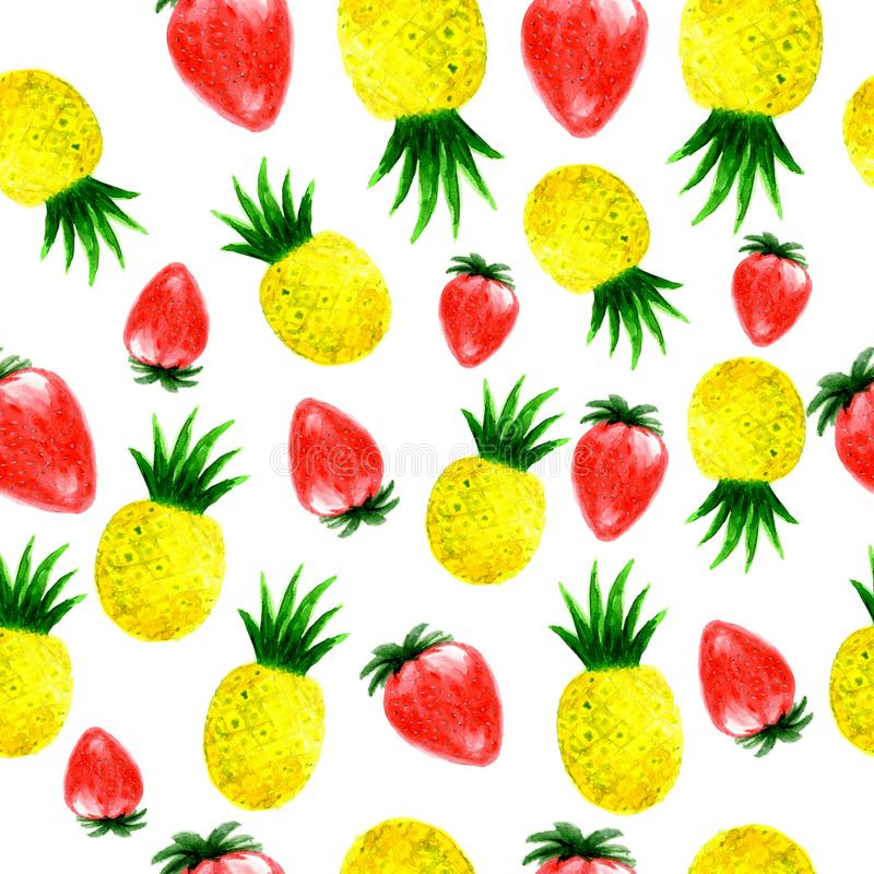 Teste padrão sem emenda do ananás e da morango da aquarela ilustração stock
