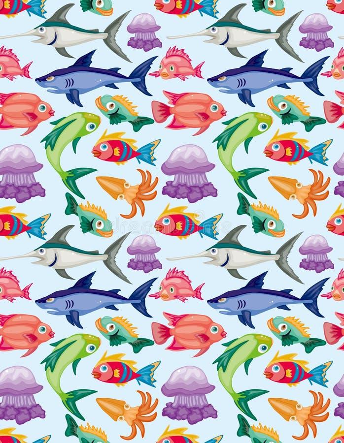 Teste padrão sem emenda do animal aquático dos desenhos animados ilustração do vetor