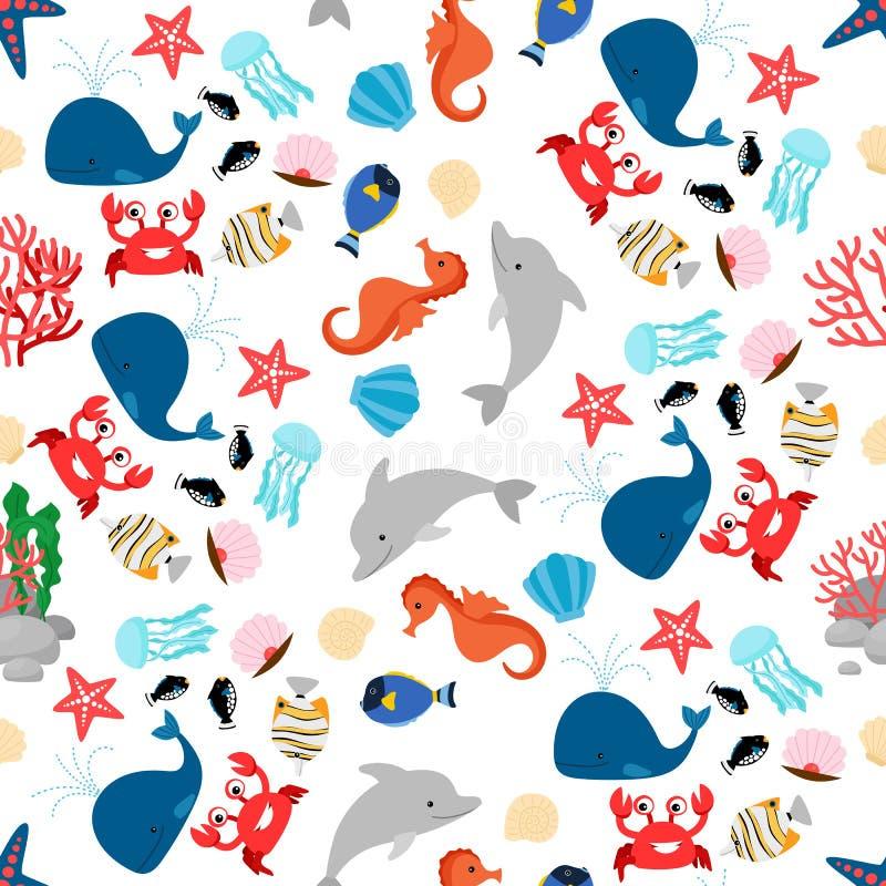 Teste padrão sem emenda do animal de mar dos desenhos animados ilustração do vetor