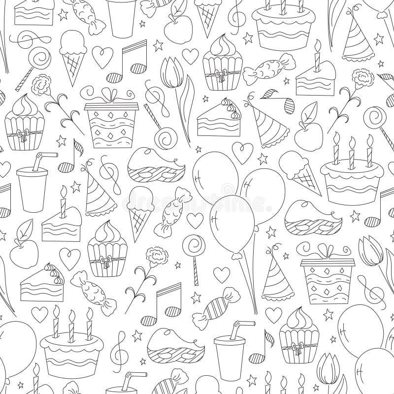 Teste padrão sem emenda do aniversário. ilustração royalty free