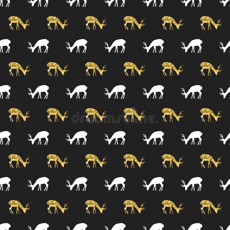 Teste padrão sem emenda do ano novo do Natal com cervos, rena Fundo preto do feriado Cervos do branco do ouro Garatuja do inverno ilustração stock