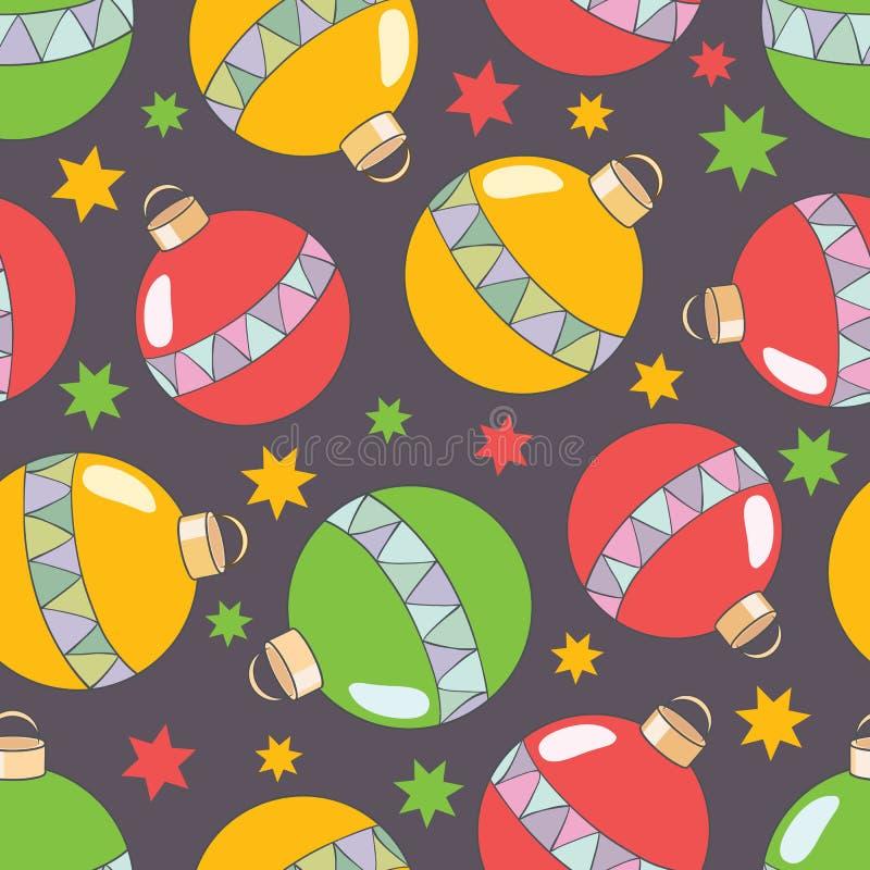 Teste padrão sem emenda do ano novo do vetor com os brinquedos coloridos da árvore de Natal ilustração stock