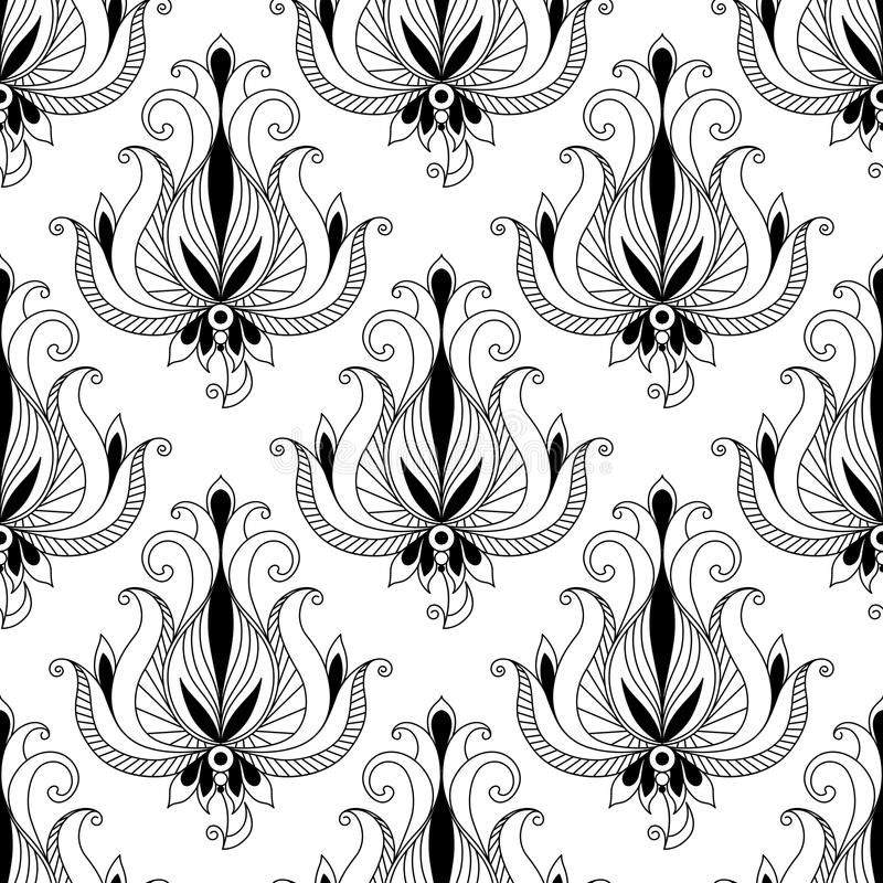 Teste padrão sem emenda do arabesque floral bonito ilustração do vetor