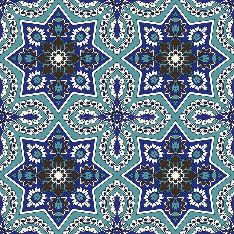 Teste padrão sem emenda do Arabesque no azul e na turquesa ilustração royalty free