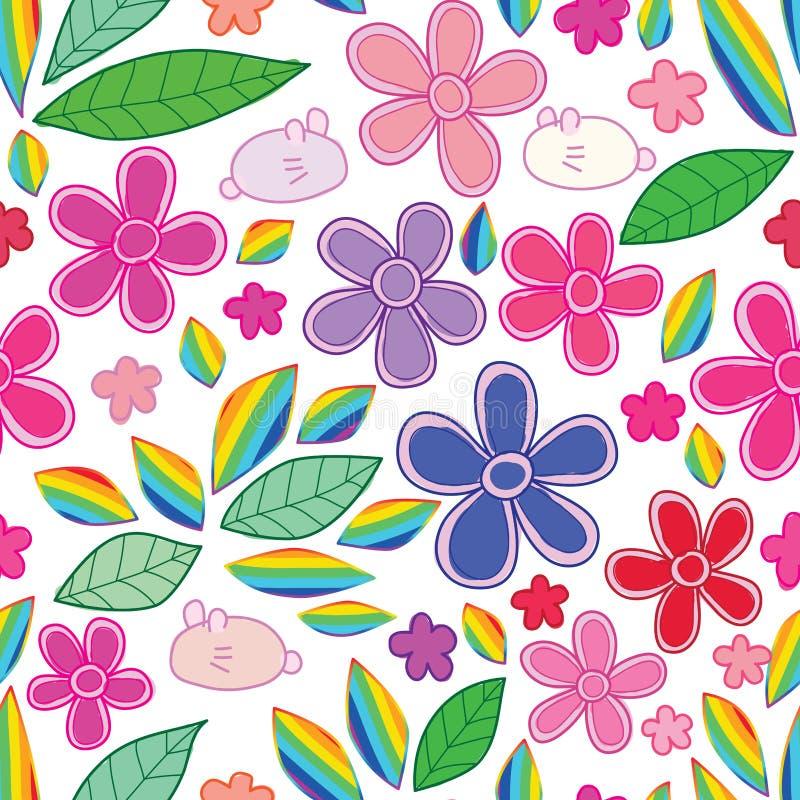 Teste padrão sem emenda do arco-íris da folha da flor do coelho ilustração royalty free