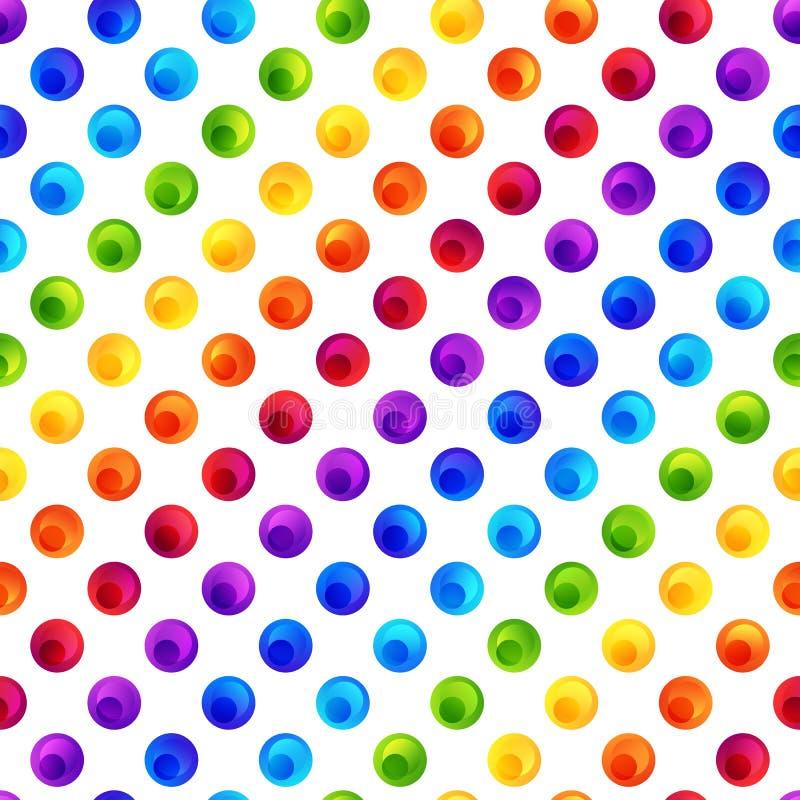 Teste padrão sem emenda do arco-íris de círculos coloridos no contexto branco ilustração stock