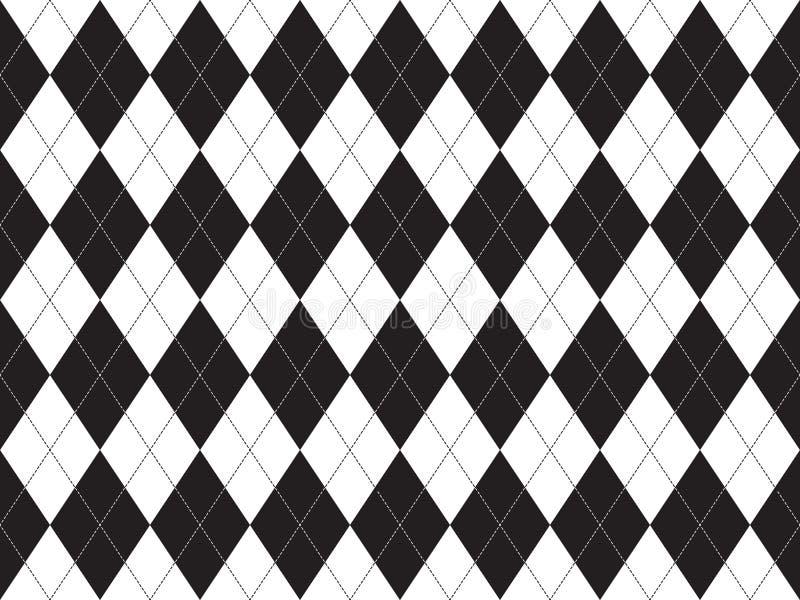 Teste padrão sem emenda do argyle branco preto ilustração royalty free