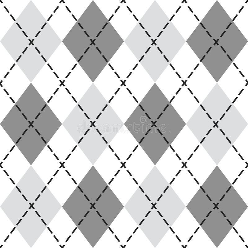 Teste padrão sem emenda do argyle na moda preto e cinzento - fundo do elemento do projeto moderno ilustração royalty free