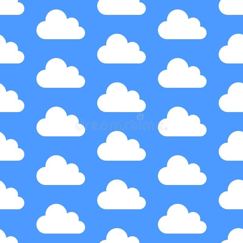 Teste padrão sem emenda do armazenamento de dados da nuvem com ícones Fundo azul com ilustrações brancas do vetor das nuvens ilustração do vetor