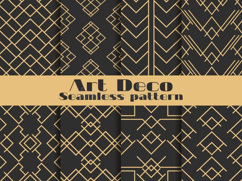 Teste padrão sem emenda do art deco Fundos retros ajustados, ouro e cor preta Denomine o ` 1920 s, ` 1930 s Linhas e formas geomé ilustração stock