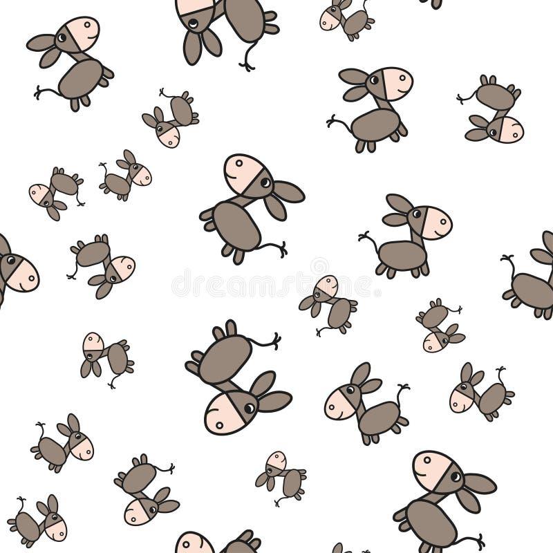 Teste padrão sem emenda do asno no estilo dos desenhos animados ilustração stock