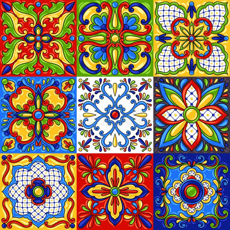 Teste padrão sem emenda do azulejo de talavera do mexicano ilustração stock