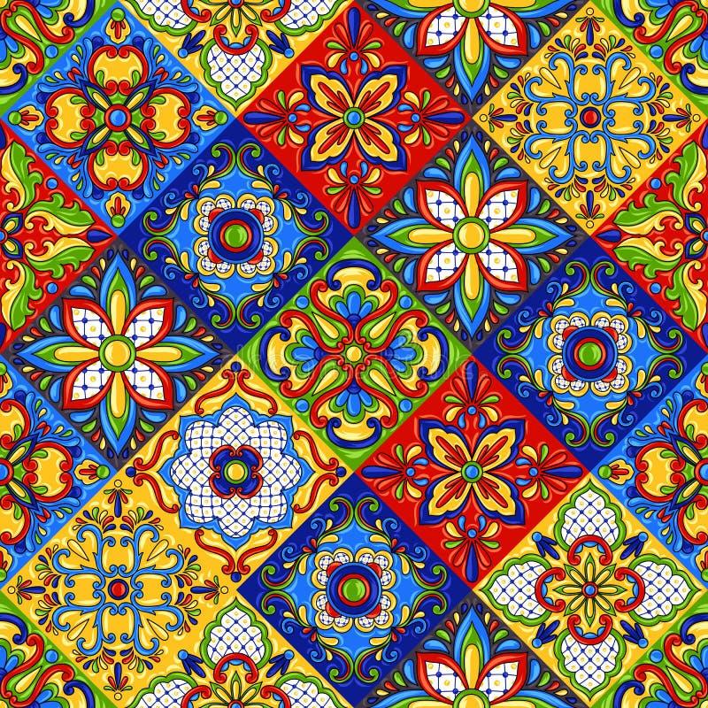 Teste padrão sem emenda do azulejo de talavera do mexicano ilustração royalty free