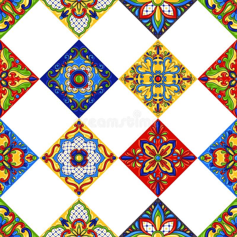 Teste padrão sem emenda do azulejo de talavera do mexicano ilustração do vetor