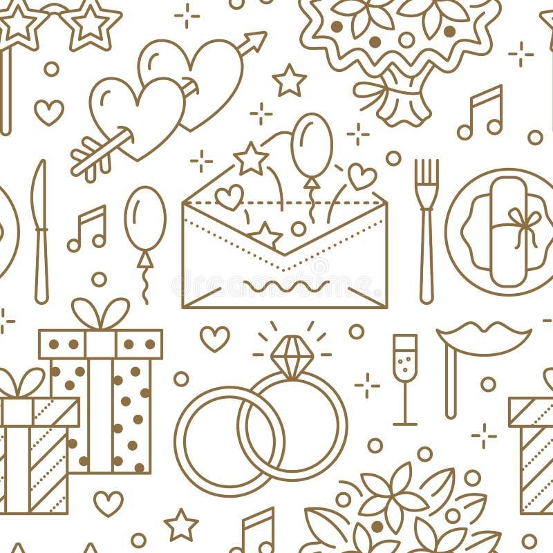 Teste padrão sem emenda do banquete de casamento, linha ilustração lisa Vector ícones da agência do evento, organização - anéis,  ilustração stock