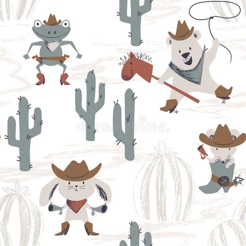 Teste padrão sem emenda do bebê animal ocidental Coelho ocidental selvagem, rato, urso, rã com chapéu, bota, arma ilustração royalty free