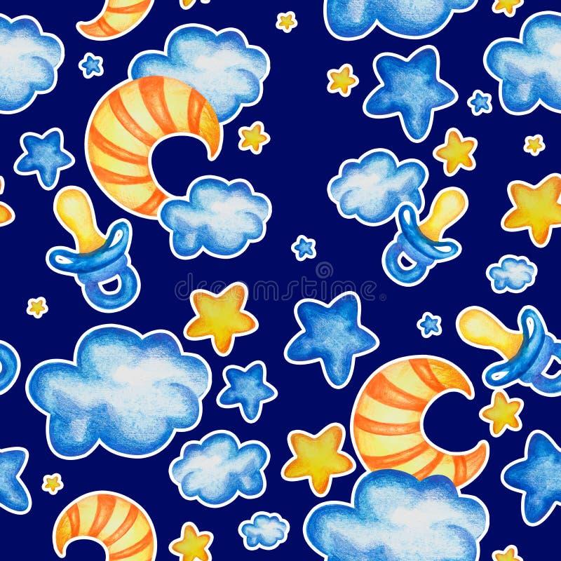 Teste padrão sem emenda do bebê com céu noturno com a nuvem tirada mão da lua da estrela dos elementos da aquarela e o manequim d ilustração stock