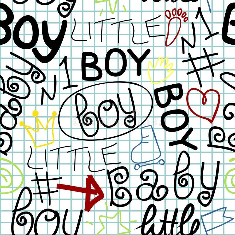 Teste padrão sem emenda do bebê com etiquetas uma criança Little Boy ilustração do vetor