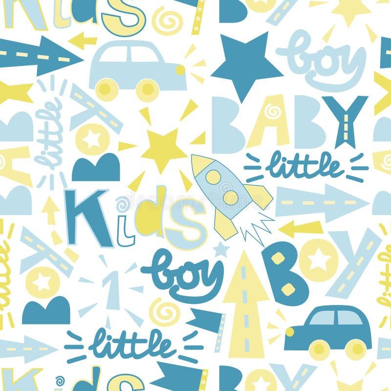 Teste padrão sem emenda do bebê com menino da etiqueta, bebê, pouco ilustração royalty free