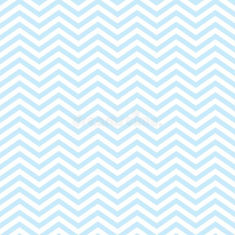 Teste padrão sem emenda do bebê de Chevron com claro - Zig Zag azul ilustração do vetor
