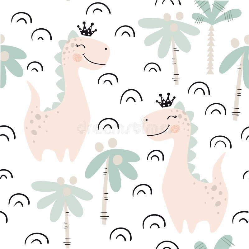 Teste padrão sem emenda do bebê do dinossauro Princesa doce de Dino com coroa Cópia bonito escandinava ilustração royalty free