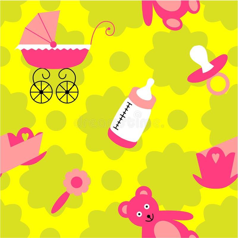 Teste padrão sem emenda do bebê para as meninas ilustração do vetor