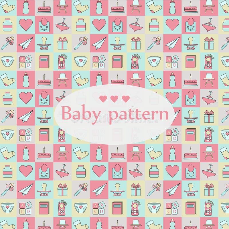 Teste padrão sem emenda do bebê recém-nascido Teste padrão colorido do projeto quadrado ilustração royalty free