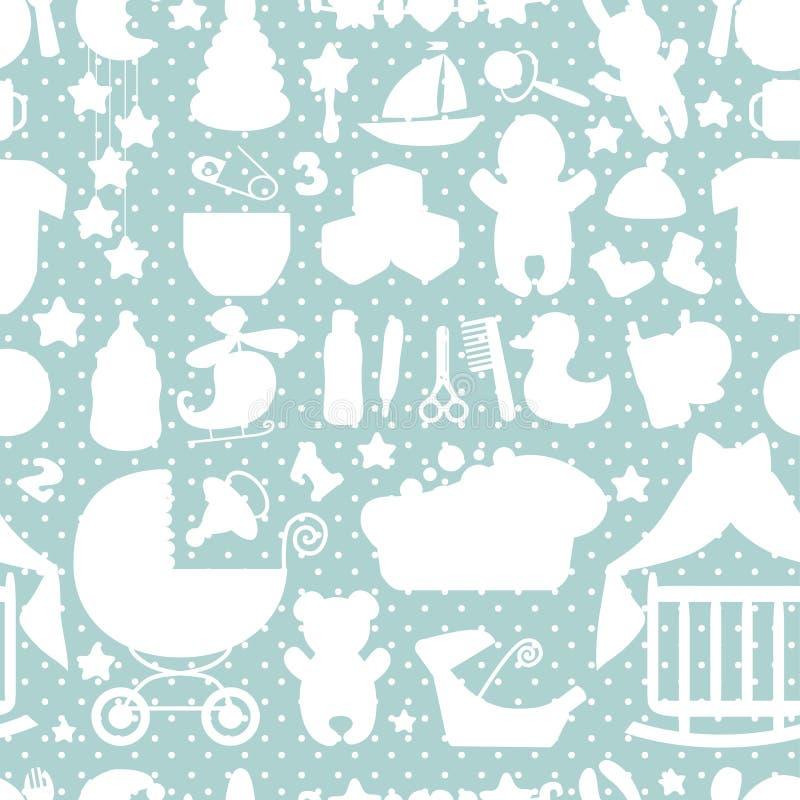 Teste padrão sem emenda do bebê recém-nascido doce Às bolinhas ilustração royalty free