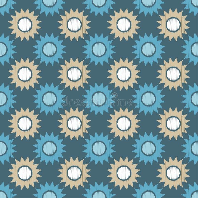 Teste padrão sem emenda do boho étnico Girassóis decorativos Textura do garrancho Motivo retro ilustração do vetor