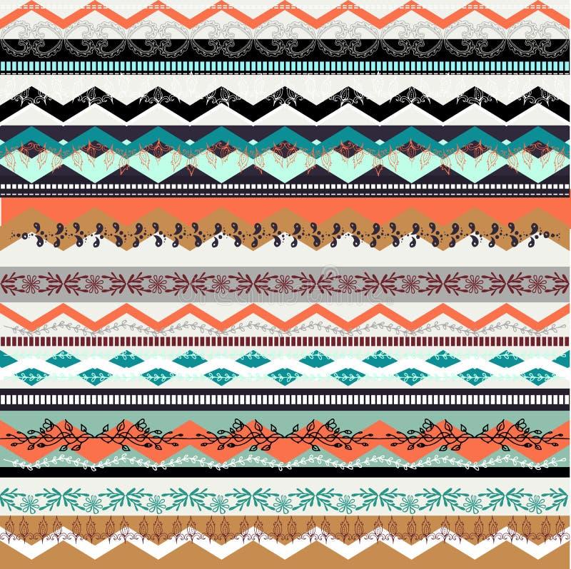 Teste padrão sem emenda do boho étnico Textura colorida do fundo da beira ilustração royalty free
