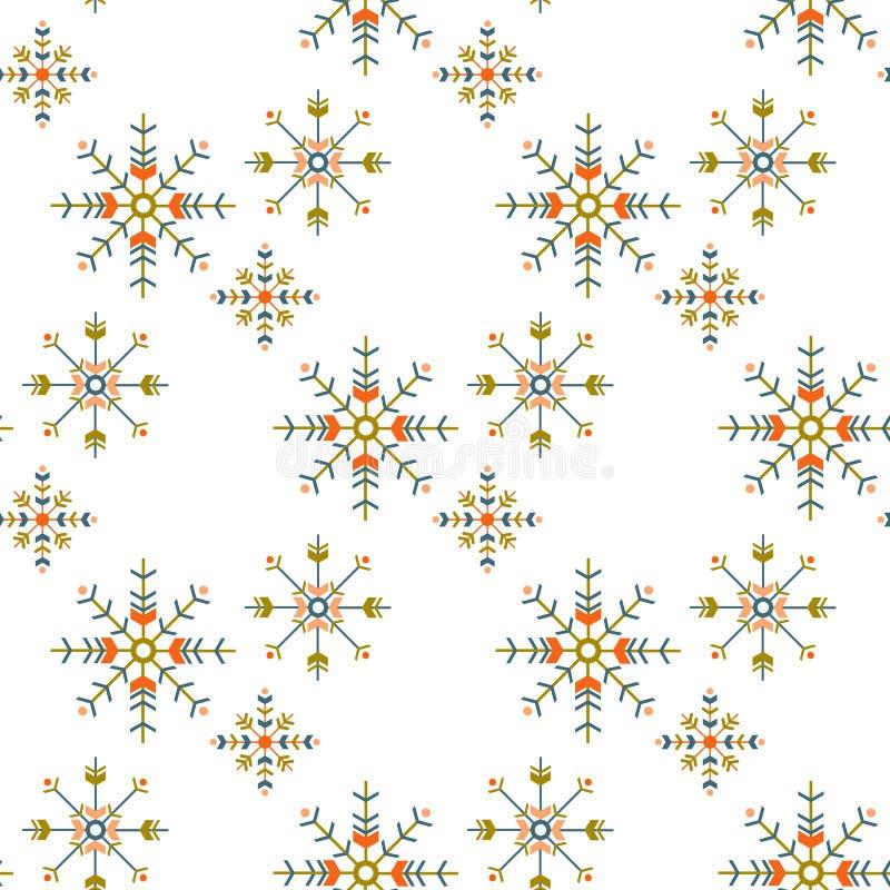 Teste padrão sem emenda do boho do inverno com os flocos de neve geométricos no fundo branco projeto da estação para a cópia, env ilustração royalty free