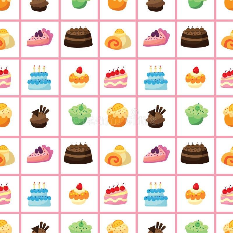 Teste padrão sem emenda do bolo ilustração royalty free