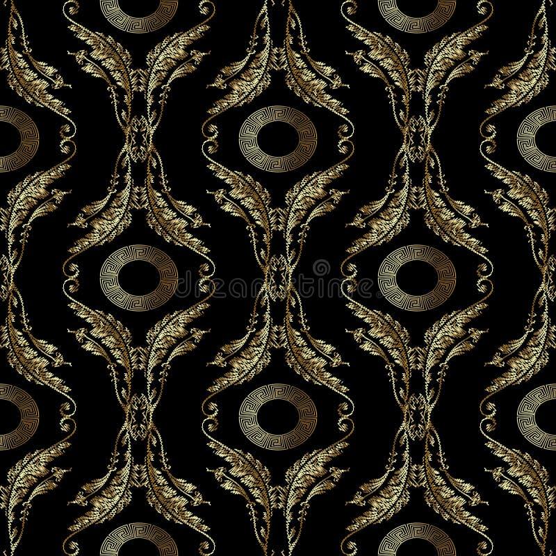 Teste padrão sem emenda do bordado barroco Mandala grega ilustração royalty free