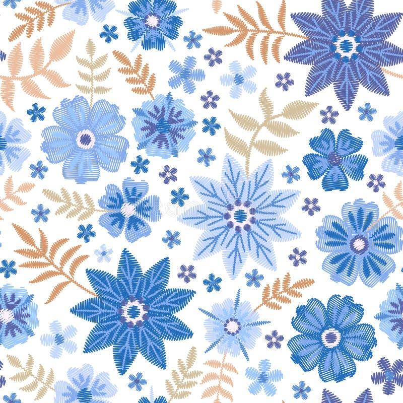 Teste padrão sem emenda do bordado com as flores bonitas em cores azuis no fundo branco cópia da forma ilustração royalty free