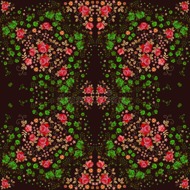 Teste padrão sem emenda do bordado com as flores e as folhas cor-de-rosa vermelhas e verdes Projeto de Manton Cópia quadrada para ilustração royalty free