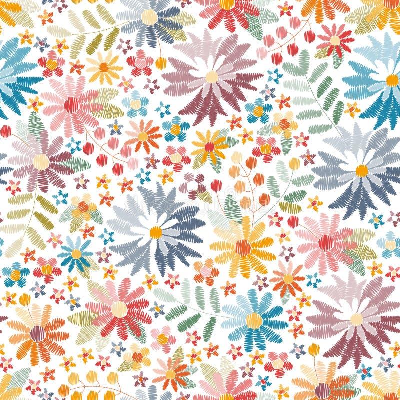 Teste padrão sem emenda do bordado com flores e as folhas coloridas no fundo branco Cópia brilhante do verão ilustração do vetor