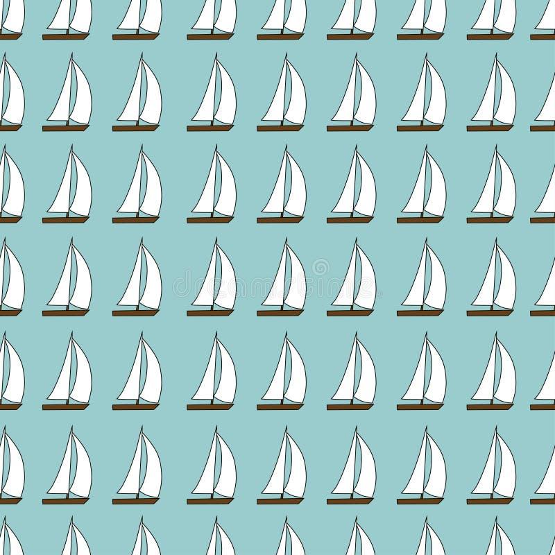 Teste padrão sem emenda do bote Ilustração do vetor no fundo azul ilustração stock