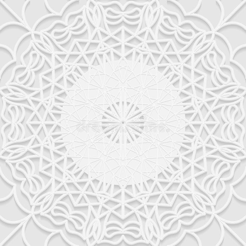 Teste padrão sem emenda do branco 3D, motivo árabe, fundo da mandala ilustração royalty free