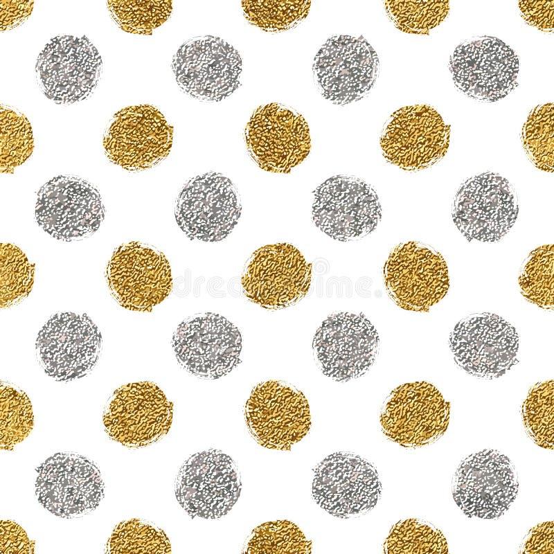 Teste padrão sem emenda do brilho do ouro e dos às bolinhas da prata ilustração stock