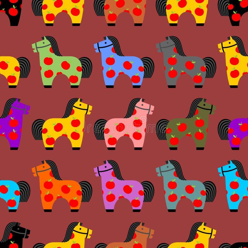 Teste padrão sem emenda do brinquedo do cavalo As crianças equinos dapple o ornamento Ho ilustração stock