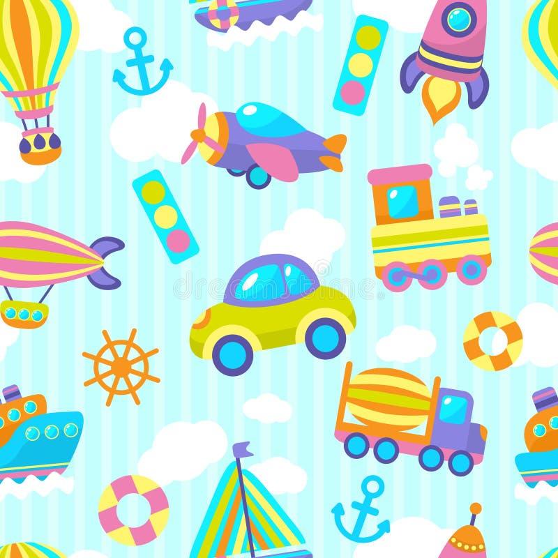Teste padrão sem emenda do brinquedo do transporte ilustração royalty free