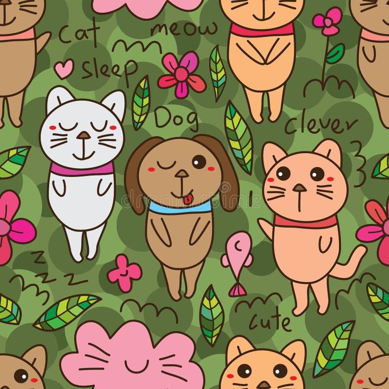 Teste padrão sem emenda do cão do grupo do gato ilustração do vetor