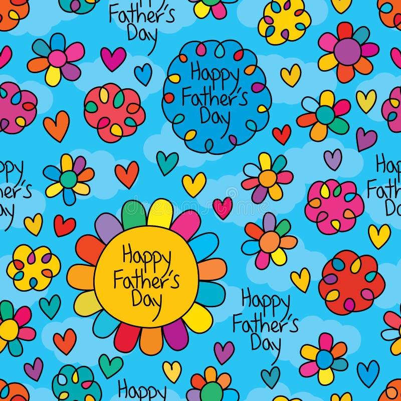 Teste padrão sem emenda do céu feliz do furo da flor do dia de pais ilustração do vetor