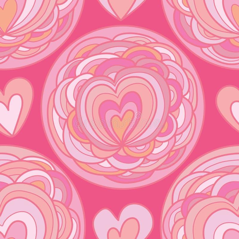 Teste padrão sem emenda do círculo da flor do amor ilustração royalty free