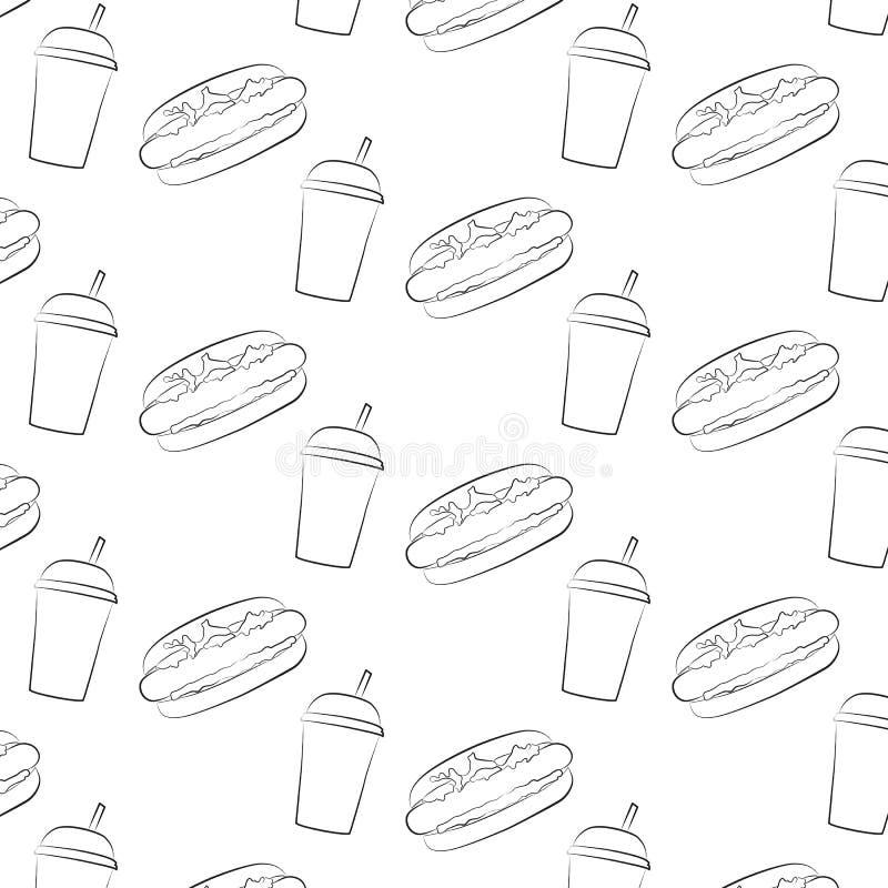 Teste padrão sem emenda do cachorro quente e de um copo com uma palha ilustração stock
