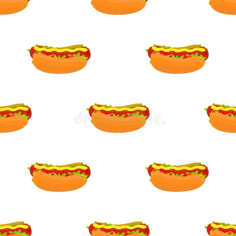 Teste padrão sem emenda do cachorro quente do vetor Fast food da salsicha tipo frankfurter Estilo liso dos desenhos animados ilustração royalty free