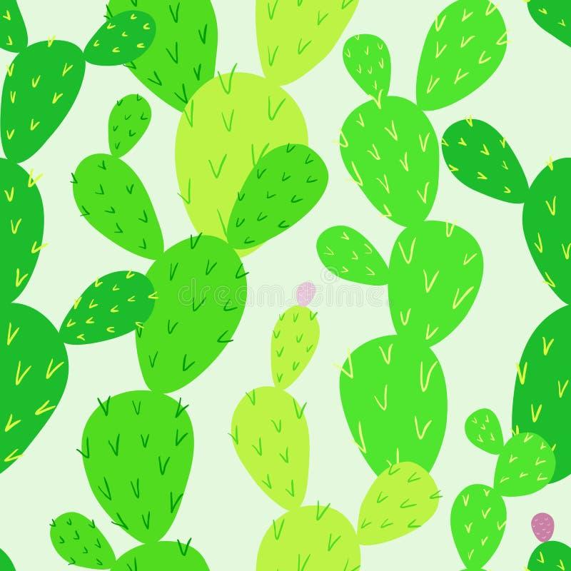 Teste padrão sem emenda do cacto do Opuntia Cacto infinito Flora do deserto ilustração do vetor