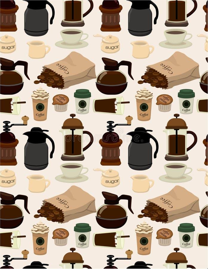 Teste padrão sem emenda do café ilustração do vetor