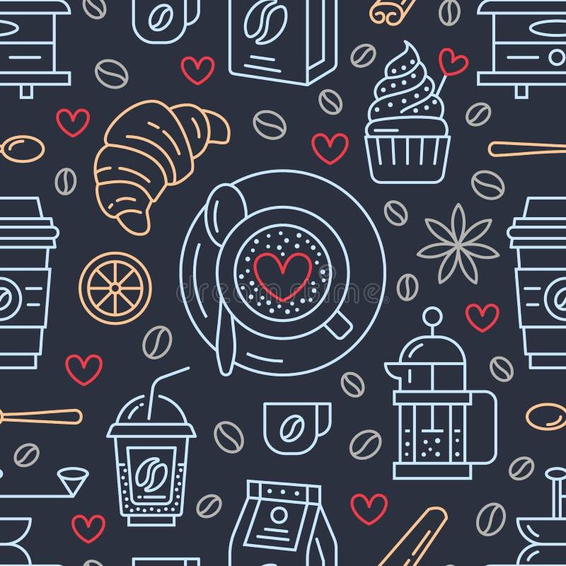 Teste padrão sem emenda do café, fundo do vetor Bebidas bonitos, linha lisa ícones das bebidas quentes - os franceses pressionam, ilustração stock