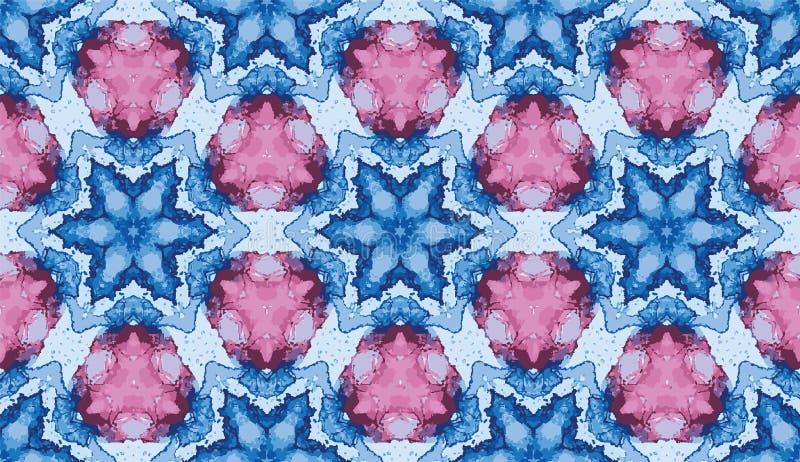 Teste padrão sem emenda do caleidoscópio colorido abstrato Fundo geométrico do vetor da estrela do inverno Amostra de folha festi ilustração stock